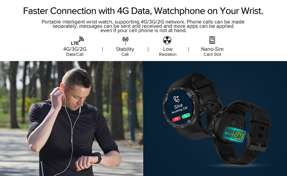 Zeblaze THOR 4 4G Smartwatch Phone 1.39 inch Android 7.0 MTK6737 1.1GHz Quad Core 1GB RAM 16GB ROM 5.0MP Camera 580mAh Built-in CORNING Gorilla Glass