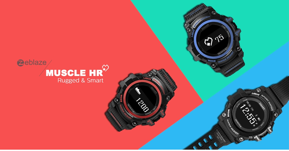 Zeblaze MUSCLE HR Smartwatch Bluetooth 4.0 IP68 Waterproof Remote Camera Sleep Monitor Sedentary Reminder Pedometer