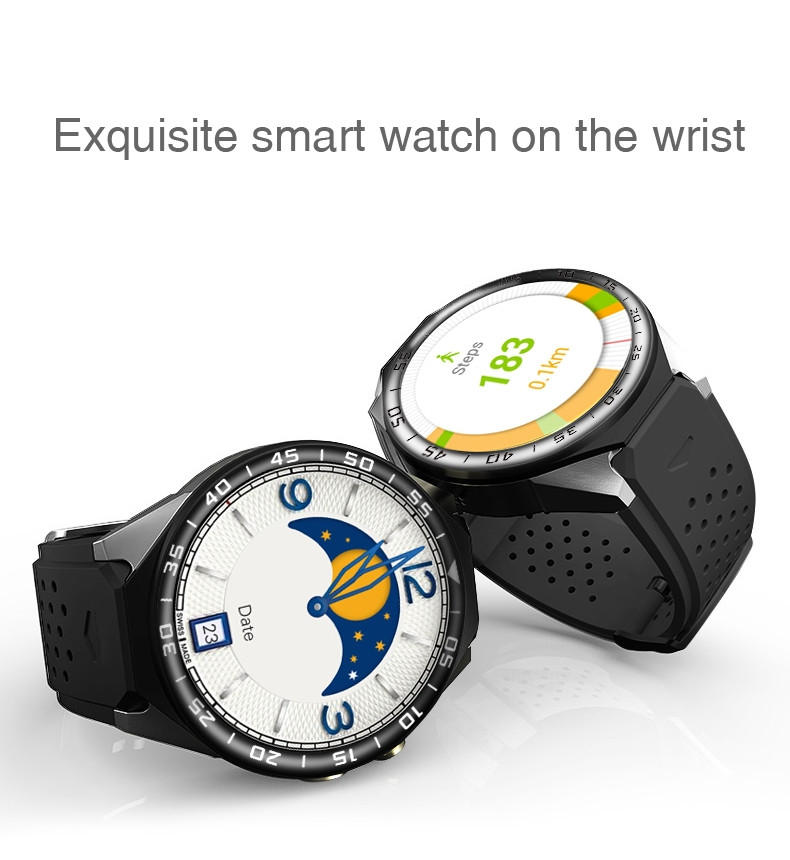3G Android Smart Watch Phone Heart Rate Monitor Touch Screen Support GPS Wifi SIM Camera App silver 3 2