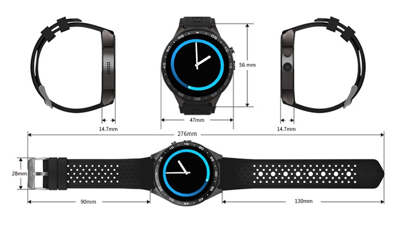 3G Android Smart Watch Phone Heart Rate Monitor Touch Screen Support GPS Wifi SIM Camera App silver 3 12