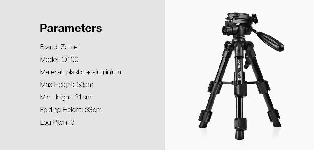 Zomei Q100 Aluminum Alloy Mini Travel Tabletop Tripod Lampstand