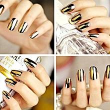 1pcs Metallic Artificial Full Fake False French Nail Art Tips Acrylic Manicure Yellow