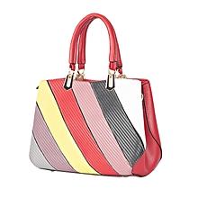 Color Block Stripe Tote Bag