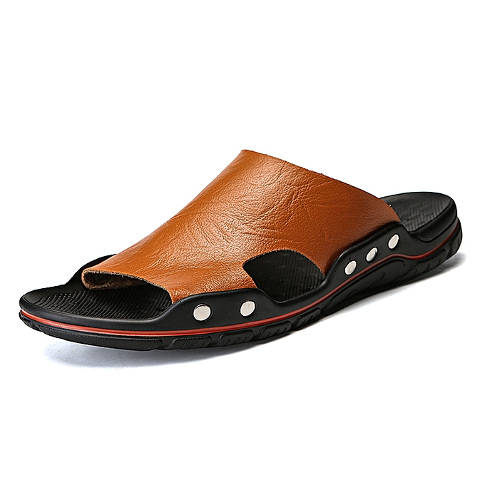 dfab7e39f52 Fashion Summer Men Sandals Outdoor Slippers Beach Shoes Flat Leather ...