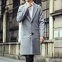 Autumn Winter Fashion Men's Warm Thick Long Windbreaker Casual Solid Color Slim Woolen Jacket Coat