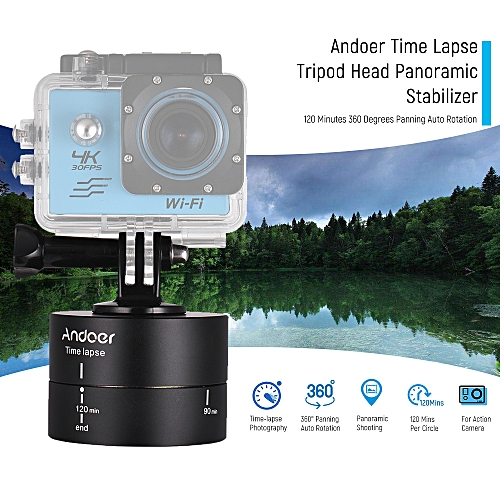 Andoer 120 Minutes 360 Degrees Panning Auto Rotation Time Lapse Tripod Head  Panoramic Stabilizer for GoPro Hero6 5 4 3 3+ for Lightweight DSLR ILDC