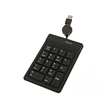 18 Keys Numeric Keypad Number w/ Retractable USB Cable for Laptop PC Black