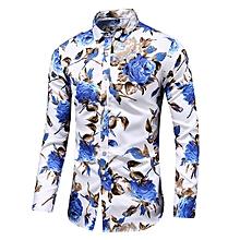 Print Men's Long Sleeve Shirts Turn-down Shirts (Blue)