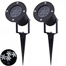 Christmas Snowflake Projector Lights Waterproof, White Light 12W LED Auto Rotating Spotlight Lamps, EU Plug, 2Pcs