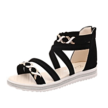 Women Flat Shoes Summer Soft Leather Leisure Ladies Sandals Black/36