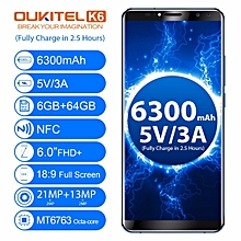 Oukitel K6 6.0-Inch ( 6GB, 64GB ROM), Android 7.1, 6300mAh, Four Cameras Fingerprint - BLACK