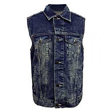 Blue Lt Wash - Sleeveless Denim Jacket