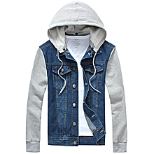 Panel Design Denim Jacket with Detachable Hood - BLUE
