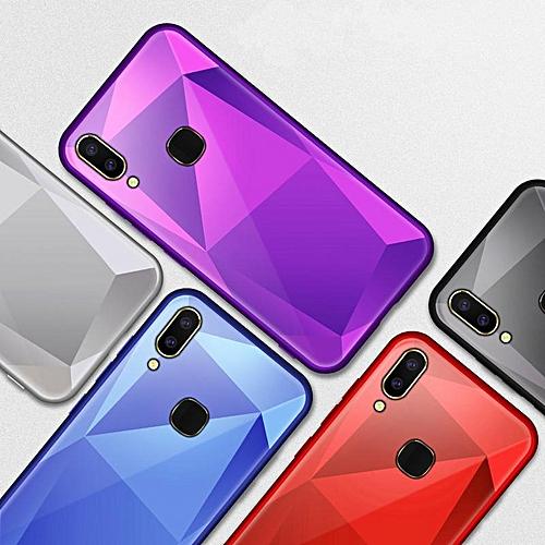 big sale 8f810 5cd03 Luxury Diamond Case For VIVO V9 Tempered HD Glass Case Cover Full  Protection Shockproof Casing for Vivo V 9 (VIVO V9-Purple)