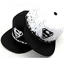2pcs/set Boy Girls Hat Kids Baseball Cap Superman Diamond Snapback Lovers - Black&white