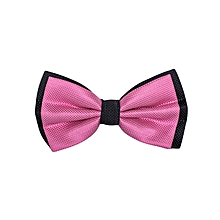 Black & Pink Sherbet Self Print Men's Bow Tie