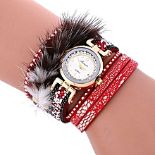 Lady  Leather Wrist Watch Fulaida Stylish Crystal Magnetic Buckle Leather Bracelet Lady Womans Wrist Watch RD-Red