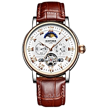 JYD-J029 Men Wrist Watch Automatic Mechanical Watch Leather Strap Moon Phase luminous Self-Wind Band with Gift Box