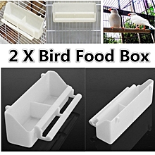 2 pcs White Bird Cage Plastic Feed Cup Seed Water Dispenser Bird Food Box