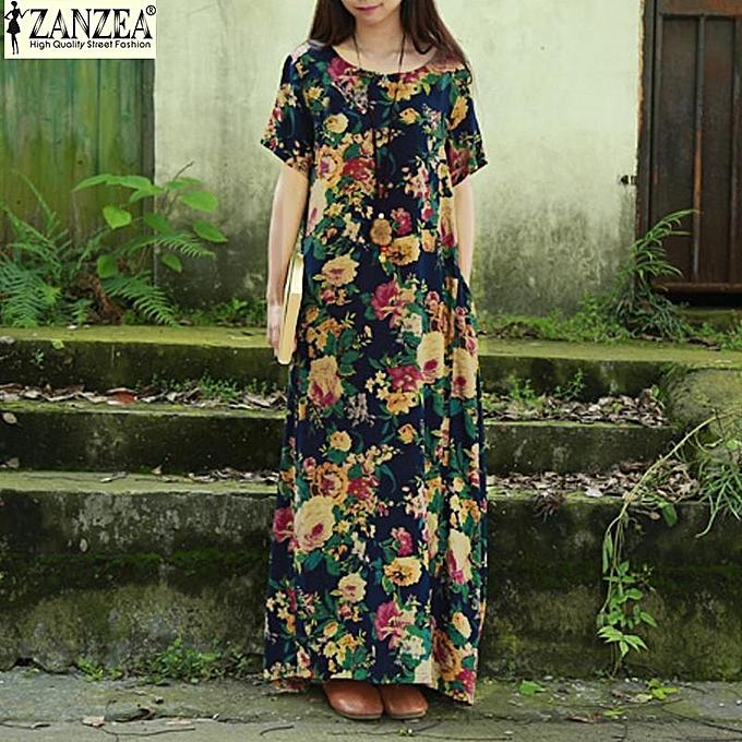 b2d17bda929 ZANZEA 2 Colors Womens Summer Oversized Floral Print Short Sleeve Casual  Loose Kaftan Maxi Long Dress