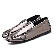 Mens Driving Shos Slip On Glossy Vamp Rubber Sole Boat Shoes
