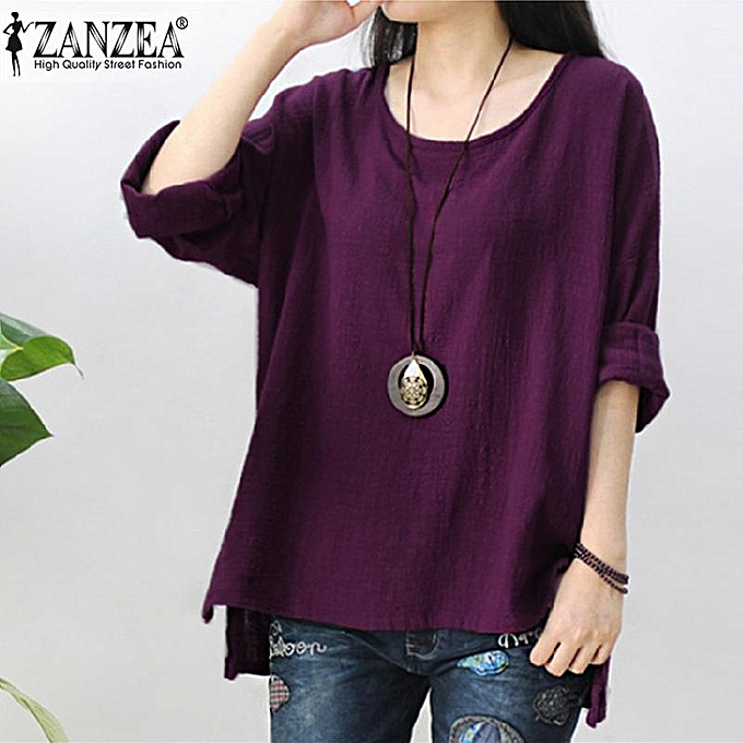 cf9c5c45136 ZANZEA Womens Retro O Neck Long Sleeve Split Baggy Cotton Linen Casual  Loose Solid Party Tops