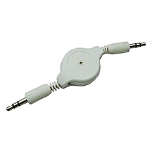 Bluelans 3.5mm Male To Male Aux Auxiliary Retractable Cable For Tablet Phone MP3 White