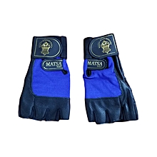 Gym gloves matsa Blue color  double strap Leather Material