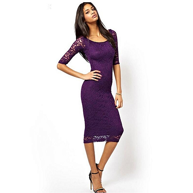 5e387f75044f Generic Women Sexy O Neck Lace Dress Slim Fit Midi Dresses-Purple ...