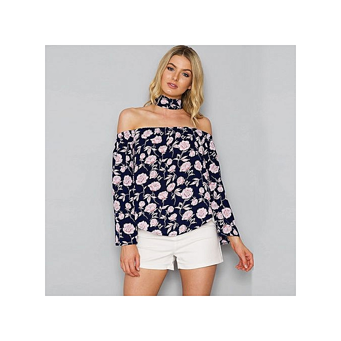 c73c93ca522 Hiaojbk Store Women Loose Floral Flare 3/4 Sleeve Sexy Off Shoulder Short  Blouse Top Shirts L-Navy
