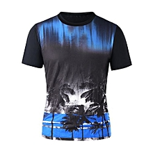 Crew Neck Coconut Tree Tee - BLACK
