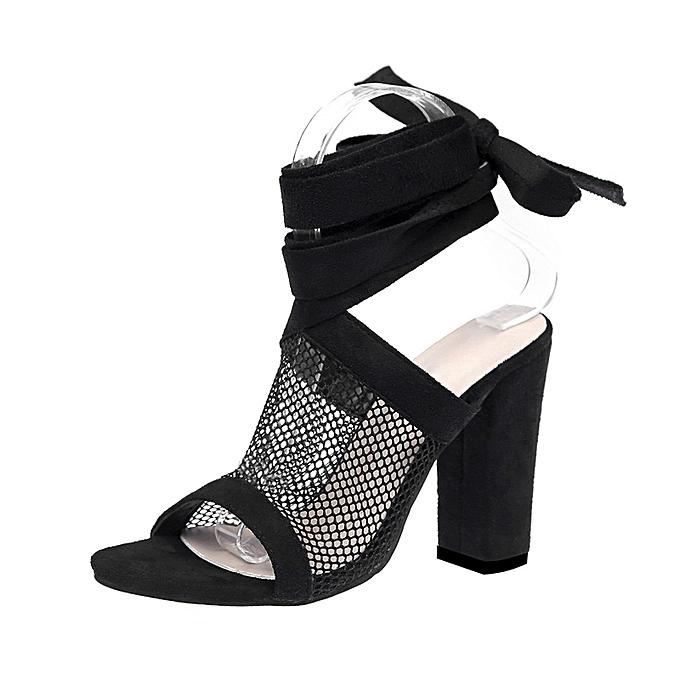 bb466d68341 Women Ladies Tie Lace Up Sandals Ankle Mesh High Heels Block Party Shoes