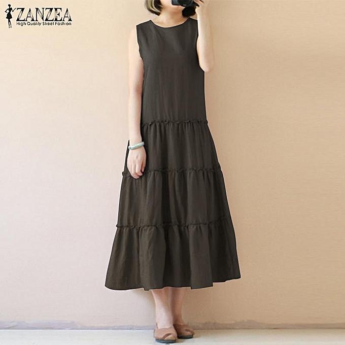 daeeb103d1 ZANZEA Women Sleeveless Long Maxi Sundress Kaftan Flare A-Line Tiered Dress  ...