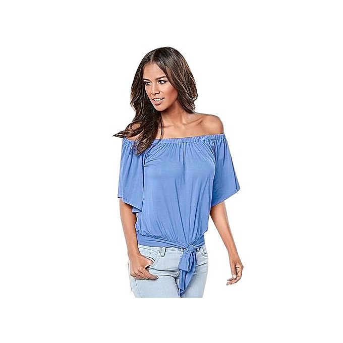 b9edb80bfdfefd Hiaojbk Store Women Summer Cold Off Shoulder Short Sleeve Bow Solid Blouse  Top T Shirt BU ...