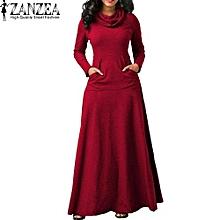 189b404f626d ZANZEA Evening Party Night Dress Women Bow Long Sleeve Pockets Solid Long  Dress