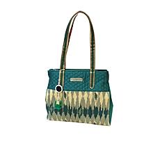 Patola Handbag with Mirror Jhumki - Green