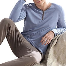 Mens Comfortable Casual Home Long Sleeve Sleeping Pajamas Suit