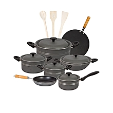 Fine 15 pieces non-stick cooking set (Alluminum) Lid - Grey