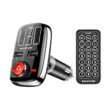 SMARTUNE-3: Black Wireless FM Transmitter With Dual USB Charging Ports, Handsfree Calling & Easy Plug-n-Play