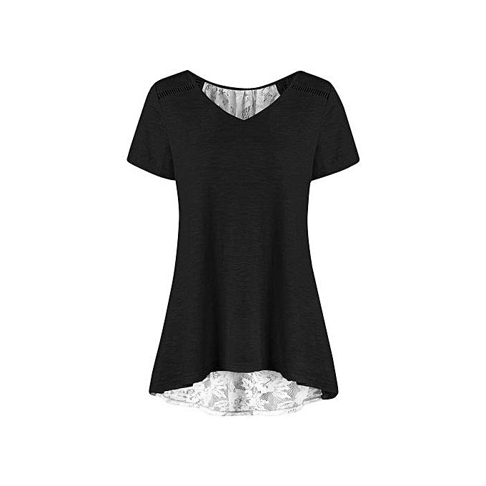 12c9f8924656bb Hiaojbk Store Women Casual Bandage Lace Patchwork V Neck Short Sleeve  Blouse T Shirt Top- ...