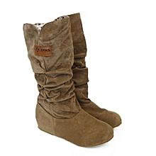 bluerdream-Woman Knee High Boots Flat Heel Nubuck Motorcycle Boot Autumn Winter Shoes YE/35-Yellow  35
