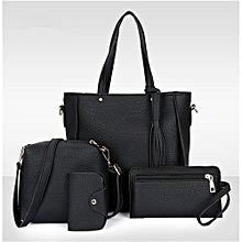 4Pcs/Set Women Faux Leather Handbag Shoulder Bag Tote Purse Messenger Clutch - Black.,