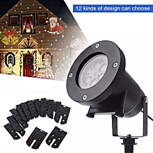12 Types Patterns Christmas Laser Snowflake Multi-Color LED Projector Lamp - US Plug
