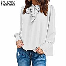 ZANZEA Women Casual Long Sleeve Chiffon Top Shirt Tunic Plus Size Blouse