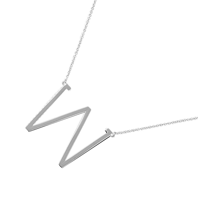 Afriashop Necklaces New Fashion jewelry for women big 26 Letter Necklaces  Pendants stainless steel-Silver 67548f24d