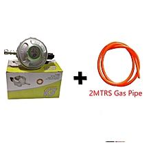 Low Pressure Gas Regulator Snap on With Child Lock For 13kg, Denmark Technology PLUS  Free 2M Gas Pipe - Grey