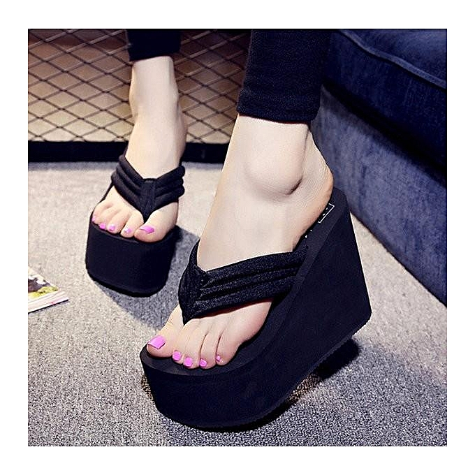 a74796fbbfd0dd Women s Sexy High Heels Flip Flops Slippers Wedge Platform Antiskid Beach  Shoes black-EU