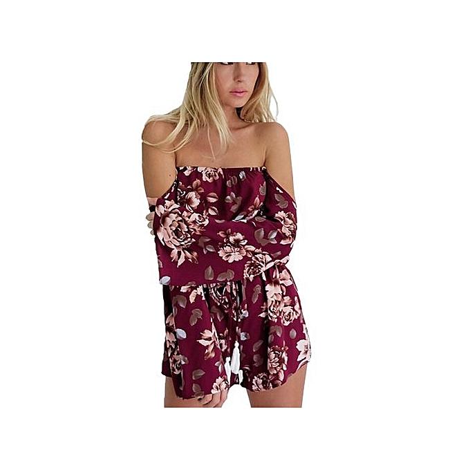 c4702c9431 bluerdream-Women Short Sleeve Summer Off Shoulder Floral Print Romper Beach  Playsuit WE L