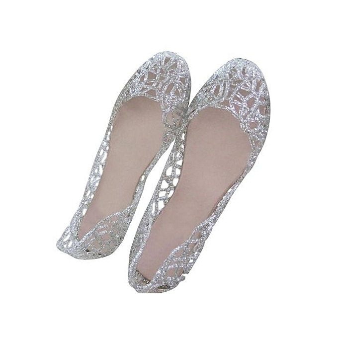 200fed70c6bfa2 ... Colour Pink Women Crystal Plastic Jelly Hollowed Flat Sandals ...