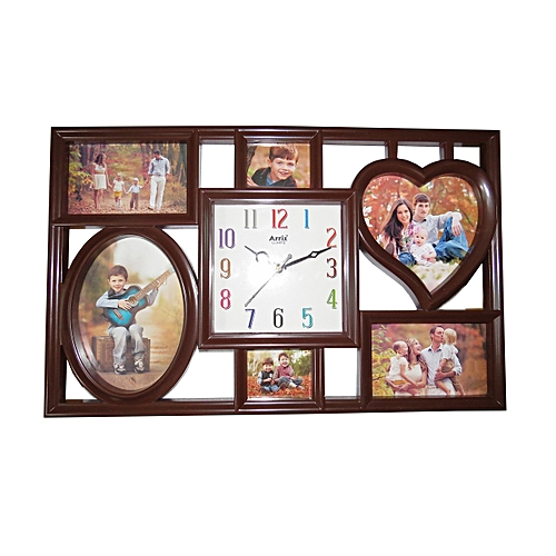 Buy Ariel Quartz Picture Frame Wall Clock Brown At Best Price